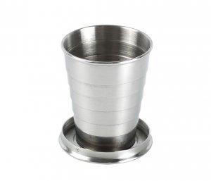 Kieliszek składany ze stali nierdzewnej VOLT 65 ml brelok (srebrny)