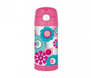 Kubek dla dzieci ze słomką Thermos FUNtainer 355 ml (stalowy/różowy) motyw kwiaty