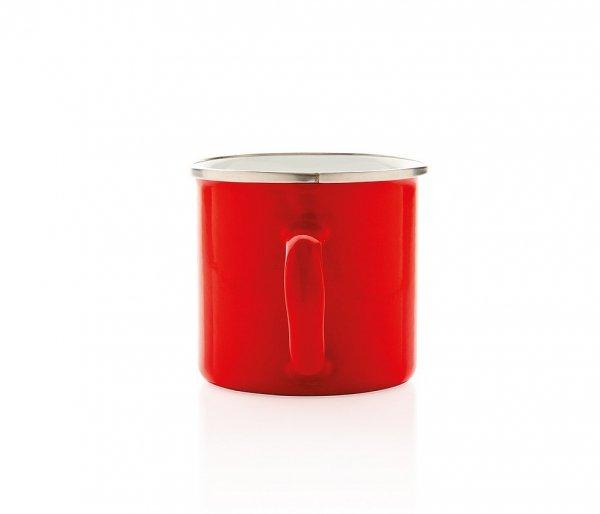 Kubek tradycyjny emaliowany 350 ml EMO z uchem czerwony