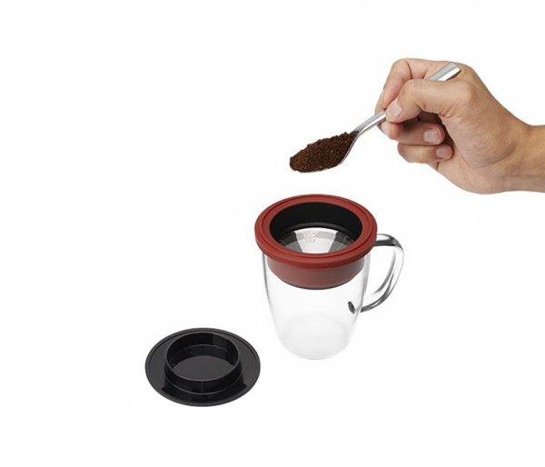 Kubek z zaparzaczem do kawy 350 ml PAO Duo Dripper biało-czarny