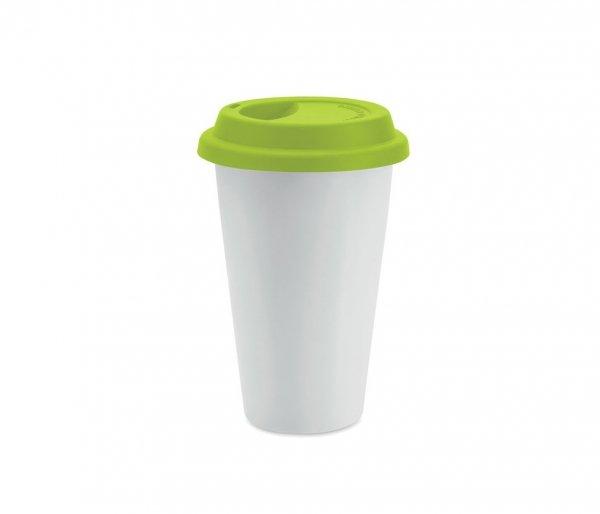 Kubek termiczny ceramiczny TUMBI 350 ml biały/zielony