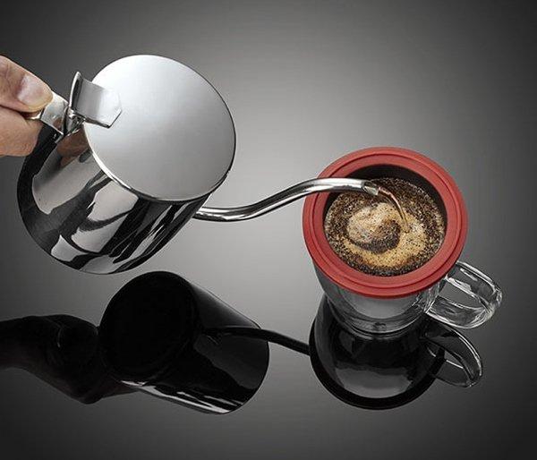 Kubek z zaparzaczem do kawy 350 ml PAO Duo Dripper biało-czerwony