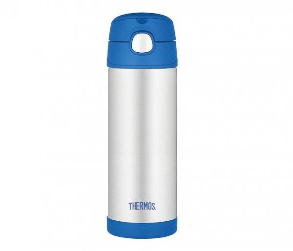 Kubek dla dzieci ze słomką Thermos FUNtainer 470 ml stalowy/niebieski