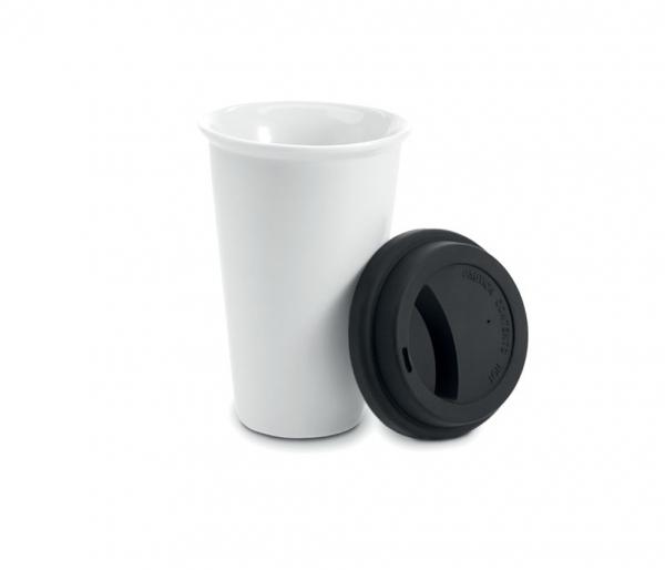 Kubek termiczny ceramiczny TUMBI 350 ml biały/czarny
