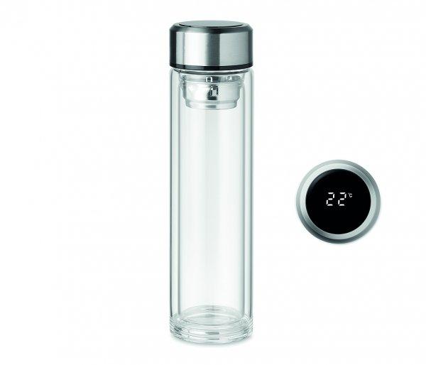 Termos szklany 380 ml CLETEA2 z termometrem dotykowym bezbarwny
