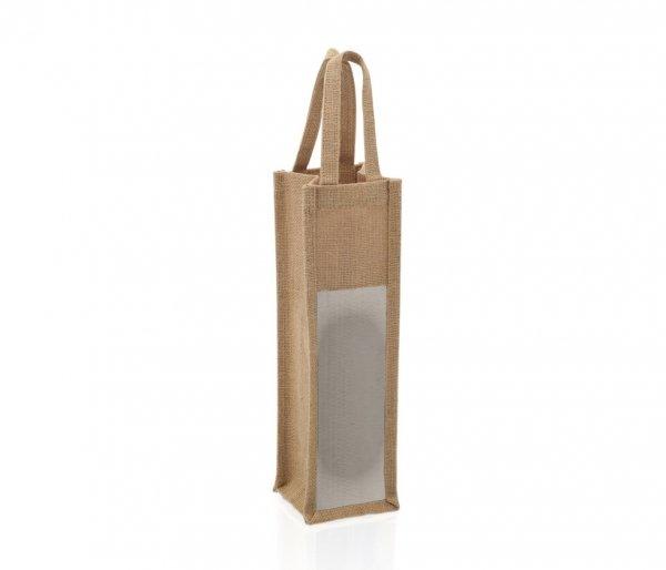 Torba jutowa z okienkiem na kubek, butelkę, termos 10x10x35 cm JUTA brązowy