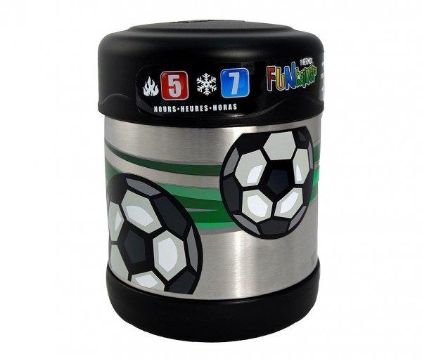 Thermos FUNtainer 290 ml (stalowy/czarny) motyw piłka