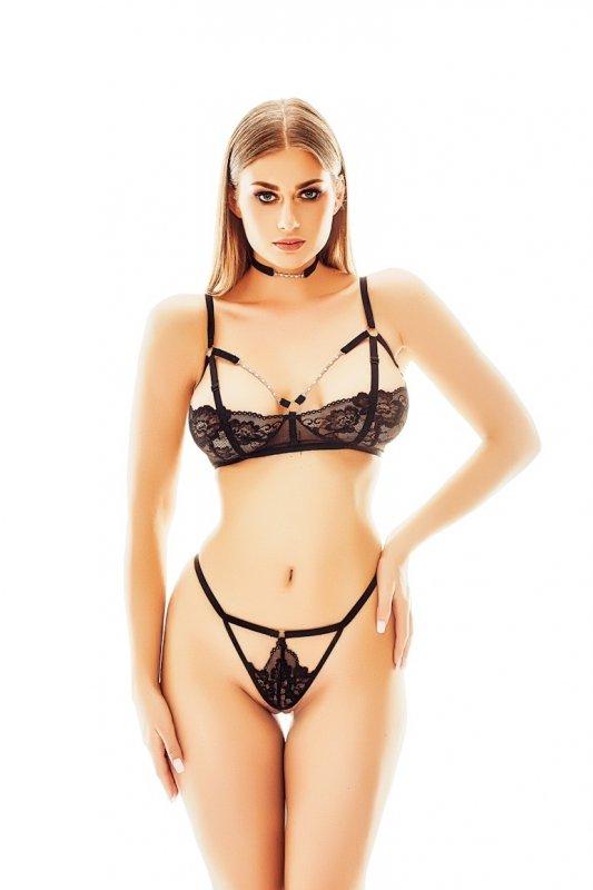 Bielizna - Elin L/XL (komplet biustonosz + stringi + obroża/set bra + thongs + collar)
