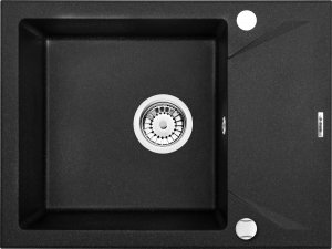Zlewozmywak EVORA 1-komorowy z krótkim ociekaczem grafitowy metalik