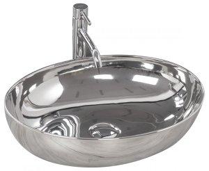Umywalka ceramiczna nablatowa Carola slim silver 51x40 REA-U5400