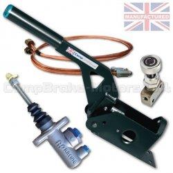 Hydrauliczny hamulec ręczny Compbrake poziomy z pompą AP Racing, korektorem siły hamowania i przewodami