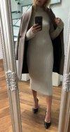 Długa Sweterkowa Sukienka Beż