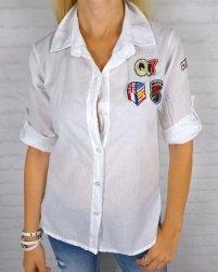 Asymetryczna Biała Koszula Naszywki