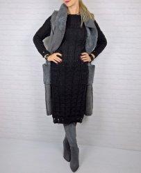 Włoska Sukienka Kieszenie Black