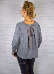 Włoski Elegancki Sweter Kokarda Grey