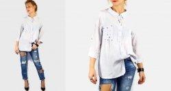 Rewelacyjna Włoska Koszula Bluzka Pudrowy Błękit