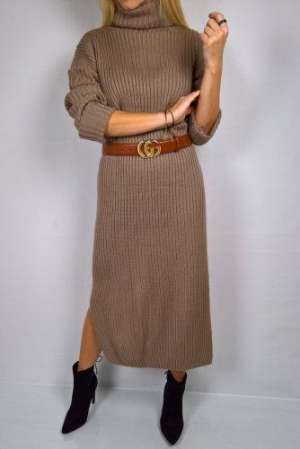 Długa Sweterkowa Sukienka Camel
