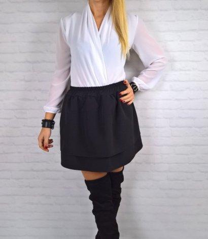 Czarna Spódnica Mini Falbanka