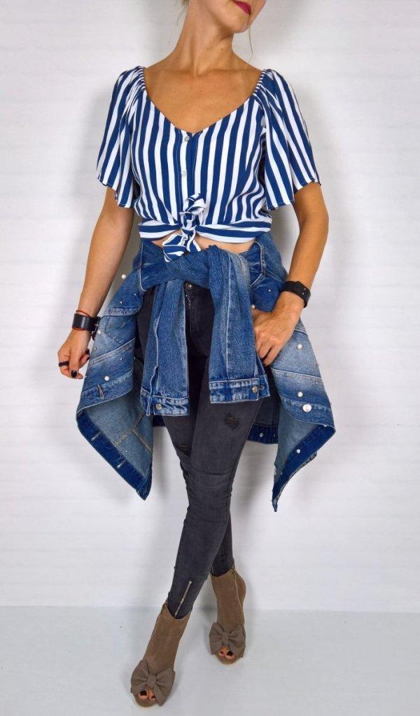 Włoska Bluzka Crop Top Paski