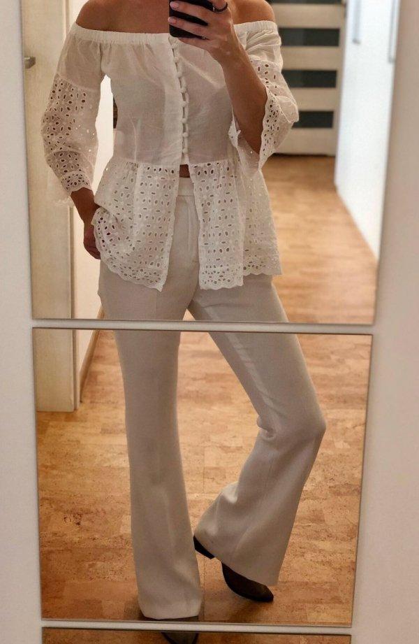 Biała Hiszpanka Bluzka Guziczki
