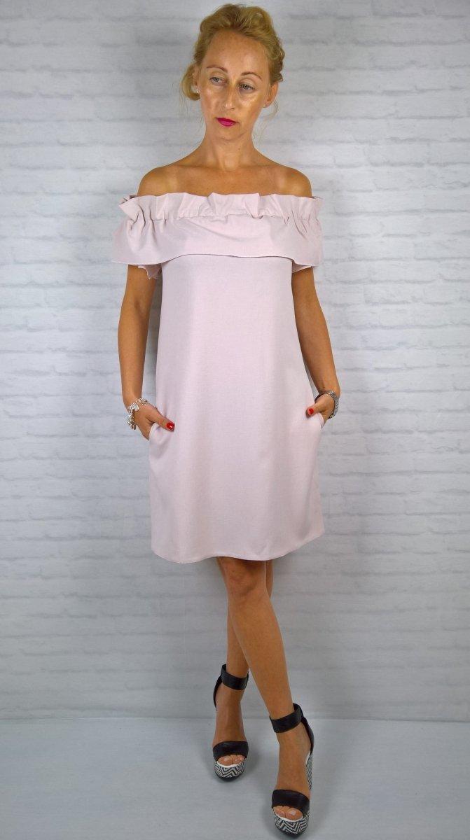 Letnia Sukienka Hiszpanka Kieszenie Róż