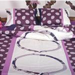 Ekskluzywna pościel satynowa Andropol 200x220 cm 100% bawełna wz. 17 820/4 Fioletowa pościel w Grochy 200x220