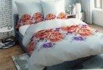 Pościel Satynowa Premium 200x220 cm Biała w Kwiaty Oritex wz 334
