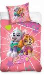 Różowa Pościel Psi Patrol dla dziewczynki  135x200 + poszewka 80x80  Carbotex 100% bawełna PAW 181042