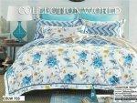 Pościel Collection World 200x220 Biała - Niebieska w Kwiaty wz 733