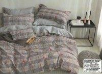 Pościel Collection World 200x220 Brązowa w Kratkę 100% bawełna wz 1220