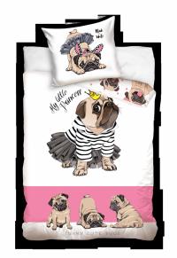 Pościel Pies Mops 160x200 Carbotex 100% bawełna Biało - Różowa dla dziewczynki wz NL194011