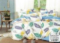 Pościel Collection World 160x200 Biało - Niebieska w Liście 100% bawełna wz 1425