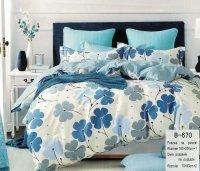 Pościel Mengtianzi Ecru - Niebieska 160x200 100% bawełna B-670