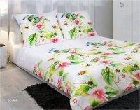 Pościel satynowa Matex Exclusive 160x200 Biała w Liście 100% bawełna wz SE-34A