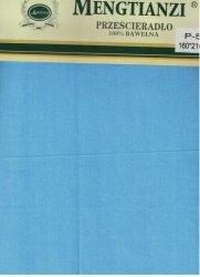 Niebieskie prześcieradło bez gumki 160x200 cm 100% bawełna Mengtianzi P-55