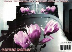Pościel 3D Kwiaty - Fioletowa Magnolia  Cotton World 160x200 100% mikrowłókno. Pościel 3D z Kwiatami