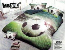 Pościel 3D Piłka Nożna Stadion 160x200 . Satnyna Bawełniana Milano wz. PN 10