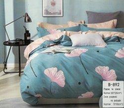 Pościel Mengtianzi Beżowa - Niebieska w Kwiaty 200x220 100% bawełna B-892. Pościel w Kwiaty 200x220.