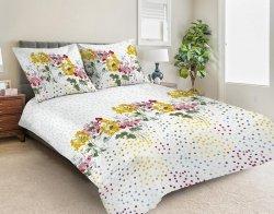 Pościel satynowa Matex Exclusive 160x200 Biała w Kwiaty 100% bawełna wz SE-43A