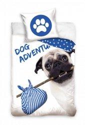 Pościel Pies Mops 140x200 Carbotex 100% bawełna Biało - Niebieska wz DOG173001