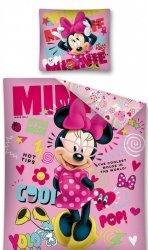 Różowa Pościel dla dziewczynki Myszka Minnie 160x200 Detexpol 100% bawena. Wzór STC 19
