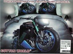 Pościel 3D Motor Ścigacz Buldog Cotton World 100% mikrowłókno wz. Motor 01. Pościel z Motorem 160x200.