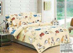 Pościel Collection World 160x200 dla dzieci - Ecru z Kotkami - 100% bawełna wz 866. Pościel z kotami 160x200 cm.