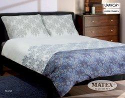 Pościel satynowa Matex Exclusive 200x220 cm Szara - Niebieska 100% bawełna wz SE 24A