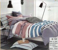 Pościel Mengtianzi 160x200 Kolorowa w pasy  100% bawełna wz B-759