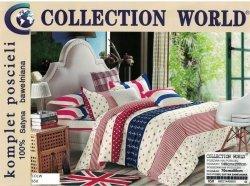Pościel Collection World Biało - Niebieska w gwiazdki 140x200 100% bawełna wz 650 Młodzieżowa Marynarska