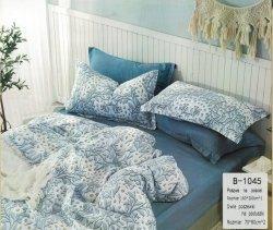 Pościel Mengtianzi 160x200 Szara - Granatowa w Kwiaty 100% bawełna wz B-1045