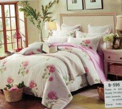 Pościel bawełniana Mengtianzi Biała - Różowa w Kwiaty  140x200 cm B-596