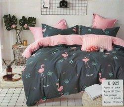 Pościel Mengtianzi 180x200 Różowa - Grafitowa we Flamingi 100% bawełna B-825. Pościel Flamingi 180x200 cm.