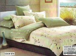 Pościel Collection World 160x200 Ecru - Zielona 100% bawełna wz 874